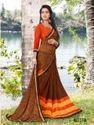 Brown And Orange And Yellow Designer Saree