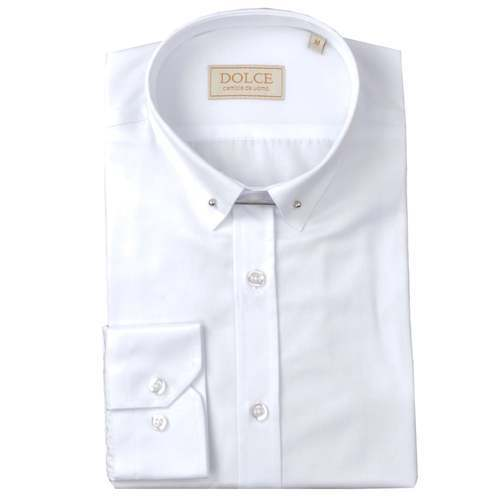 8d7b82d5e4f White Cotton Mens Pin Collar Shirt