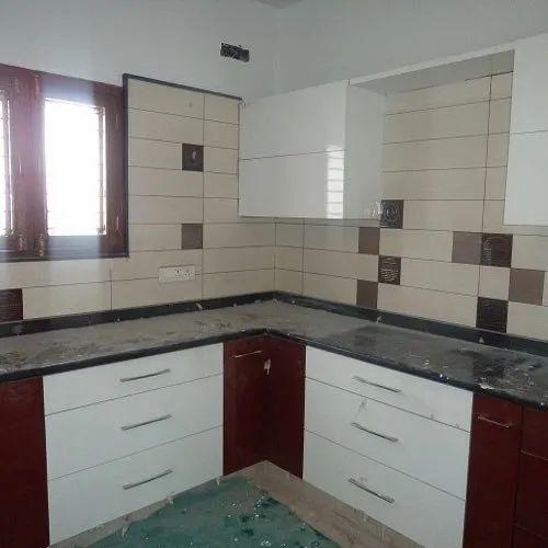 L Shape L Shaped PVC Modular Kitchen, Kitchen Cabinets