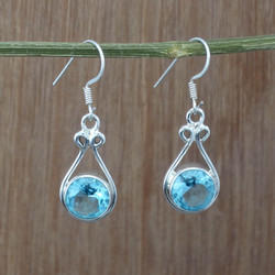 925 Sterling Silver Jewelry Earring Blue Topaz Gemstone We-1875