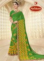 Georgette Printed Saree with Lace - Hariyali