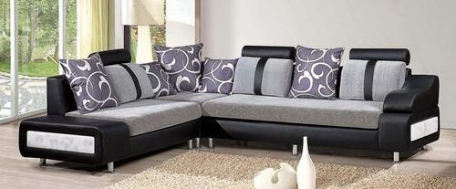 L Shape Covered Sofa Fabric And Leather