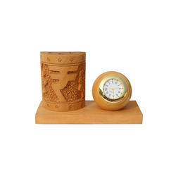 Brown Pen Stand With Clock