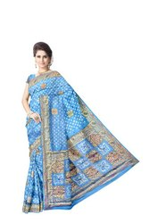 All Over Sky Blue Color  Hand Work Design Art Silk Bandhani Saree