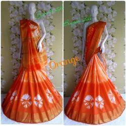 Cotton Silk Orange Saree