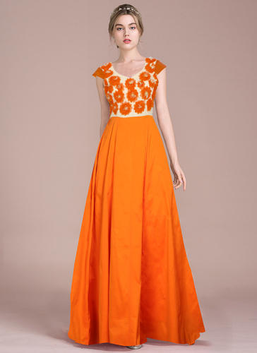 Exclusive Designer Orange Gown, Designer Gown - Tfunny Fashion ...