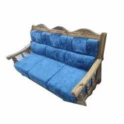 Modern Blue 3 Seater Sagwan Wedding Sofa, Hall, 5 Inch