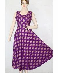 Ladies Chotti Patti Print Purple Frock