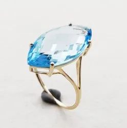 Blue Topaz Gemstone Ring In 925 Sterling Silver Beautiful Handmade Gold Plated Jewelry
