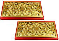 Artshai Red and Gold Shagun Envelope for Marriages and Functions -Pack of 2
