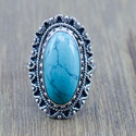 925 STERLING SILVER JEWELRY TURQUOISE GEMSTONE DESIGNER RING WR-5197