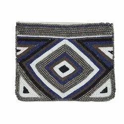 Embroidered & Beaded Cotton Black Bootan Beats Bag CB/C/10034