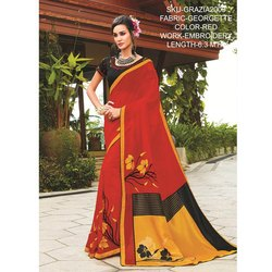 Rachna Georgette Embroidery Work Grazia Saree For Women 8