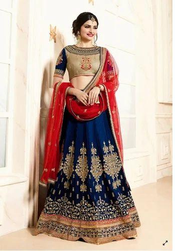 75052c430e Blue Color Banglori Silk Lehenga Choli, सिल्क लहंगा - Dani ...