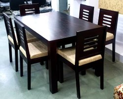 Dark Brown Wooden 6 Seater Dining Table, For Home, Size: 72*36*30