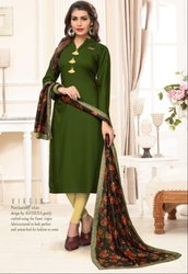 Olive Green Rayon Kurti with Digital Print Dupatta