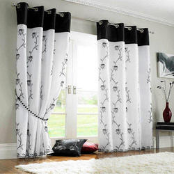 Floral Print Embroidered Window Curtain