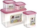 Square Plastic Container Freshy 4 Pieces Set
