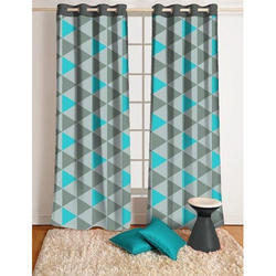 Checkes Polyester Bedroom Fancy Curtain