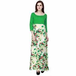 Cottinfab Women's Floral Maxi Green Dress