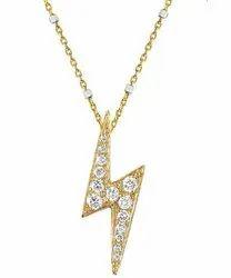 14K Lightning Bolt Diamond Gold Pendant