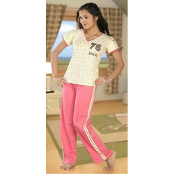 Printed Cotton V Neck Night Suit
