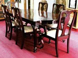Natesan's Arts Brown Teak Wood Dining Table Set For Home, Size: 6 Feet X 3 Feet