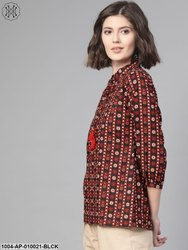 Cotton Tie-Up Neck Women Black & Rust Regular Printed Top