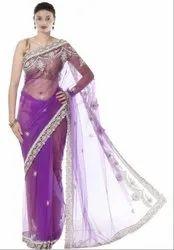 Purple Hand Work Saree
