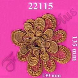 Applique Flower Pattern Gold Zari Work Patch