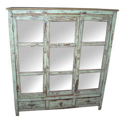 Shree Karni Handicrafts Multicolor Wooden Sliding Glass Cabinet With 3 Drawers