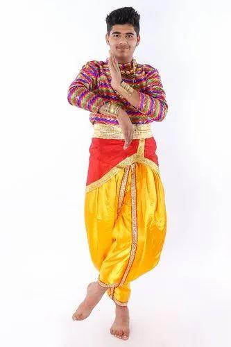 451eb0fdf7cb Multicolor Heavy Satin & Brocade Indian Semi Classical Dance Costumes