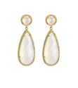 Gemstone Gold Vermeil Pave Set Teardrop Dangle Earrings