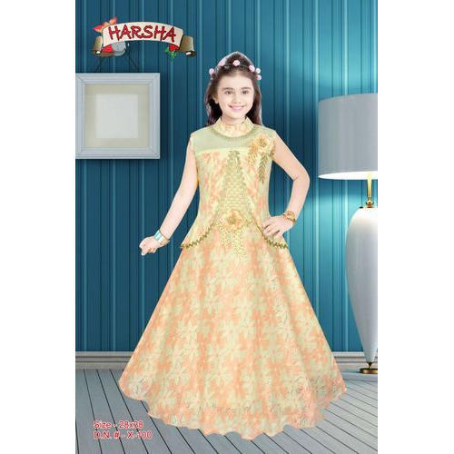 b631fe17cb Party Wear Chanderi Kids Girls Gown