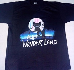 Alice In Wonderland Hand Made Painting T Shirt
