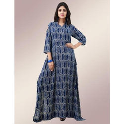 Rayon Square Cut Cold Shoulder Printed Blue Gown, Size: L-X
