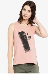 Light Pink Cotton Sleeveless Fancy T Shirt