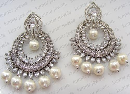 Ar Jewels Platinum Plated Fresh Water Cream Pearls Earrings