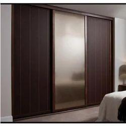 Kaizen Interio Brown Sliding Door Wooden Wardrobe, for Home,Hotel