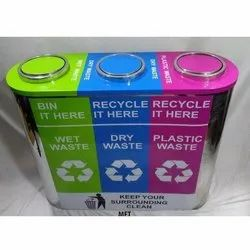 SS Trio Recycle Dustbin