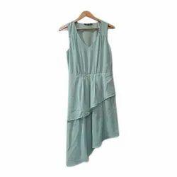 Rayon Regular Wear Girls V Neck Sleeveless Dress, Size: S