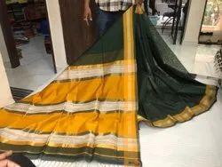Maheshwari Border Tinkinar Jute Saree, 6.20 With Blouse Piece