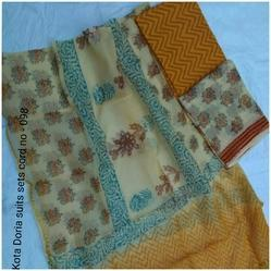 Chanderi Straight Suit with Dupatta, Size: S & XL