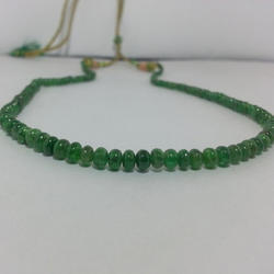 Natural Green Tsavorite Plain Smooth Rondelle Beads Necklace