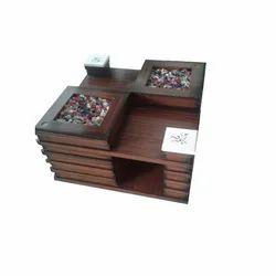 Brown Wooden Designer Glass Tea Table