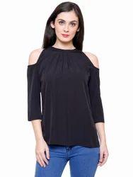 Ladies Black Stylish Top, Size: L