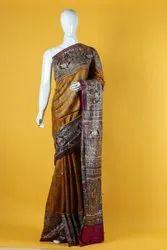 Hand Printed Tussar Gicha Silk Sarees