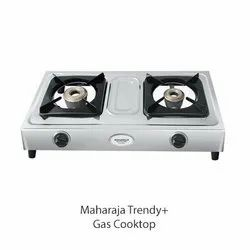 Two Burner Stainless Steel Maharaja Trendy Plus Gas Cooktop, For Kitchen