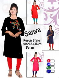 Rayon Straight 3/4th Sleeves Kurti