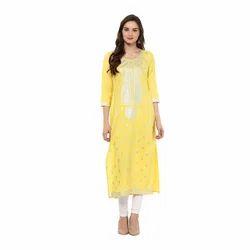 Yellow Womens Printed Kurti
